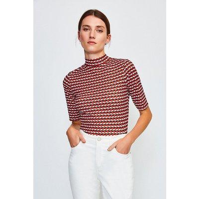 Karen Millen Short Sleeved Print Funnel Top, Red