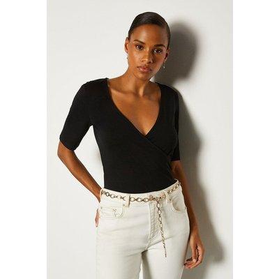 Karen Millen Short Sleeve Viscose Wrap Top, Black