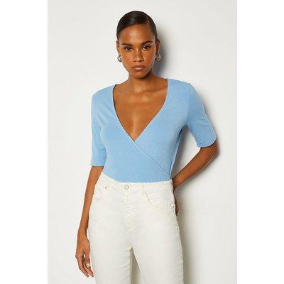 Karen Millen Short Sleeve Viscose Wrap Top, Blue