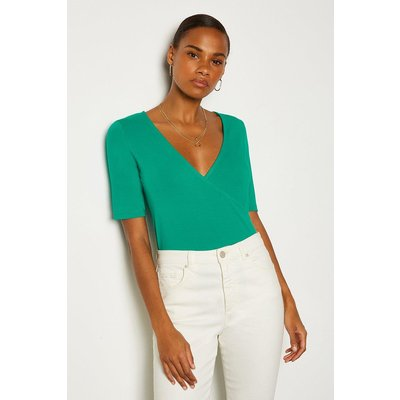 Karen Millen Short Sleeve Viscose Jersey Wrap Top -, Green