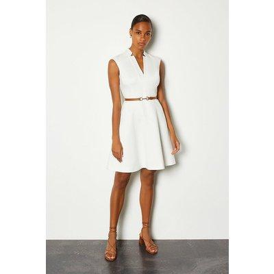Karen Millen Belted V Neck A Line Dress, Ivory
