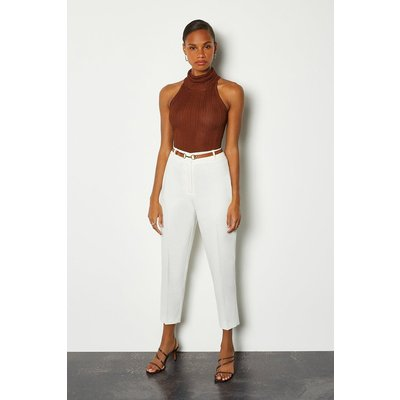 Karen Millen Belted Ankle Length Peg Trousers, Ivory