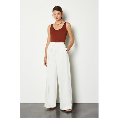 Karen Millen Side Button Wide Leg Trousers, Ivory
