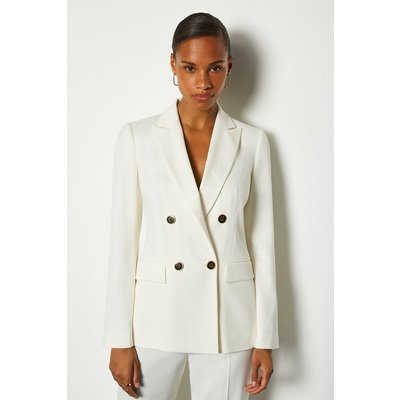 Karen Millen Double Breasted Relaxed Tailored Jacket, Ivory