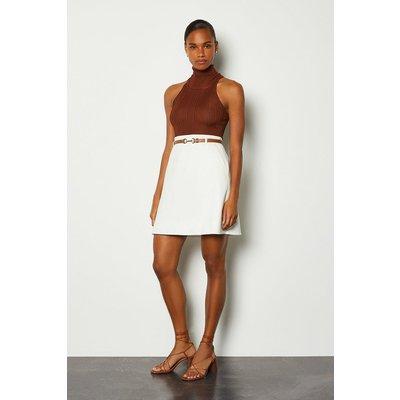 Karen Millen Belted A-Line Skirt, Ivory