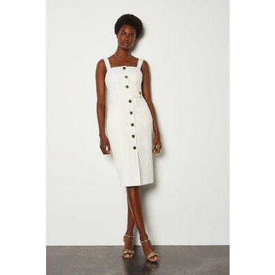 Karen Millen Square Neck Button Detail Dress, Ivory