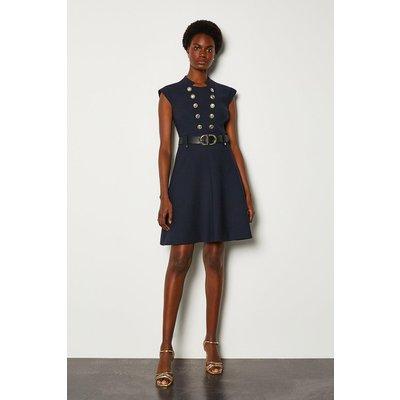 Karen Millen Military Button Belted A Line Dress, Navy