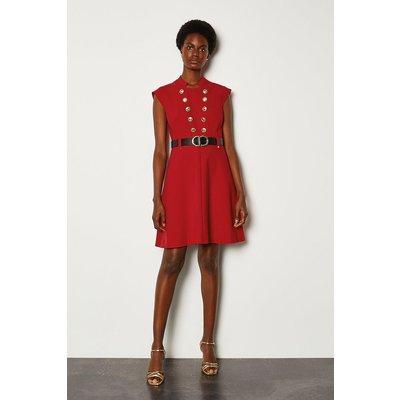 Karen Millen Military Button Belted A Line Dress, Red