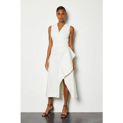 Karen Millen Sleeveless Waterfall Tailored Dress, Ivory