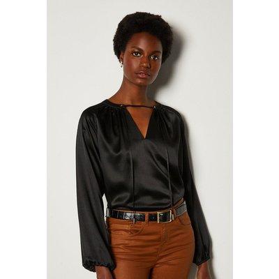 Karen Millen Silk Satin Tie Neck Long Sleeve Top, Black