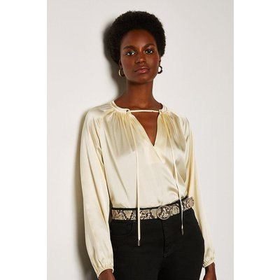 Karen Millen Silk Satin Tie Neck Long Sleeve Top, Ivory