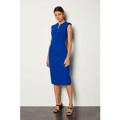 Karen Millen Square D Ring Pencil Dress, Blue