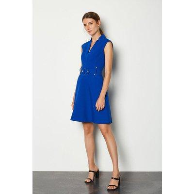 Karen Millen Forever Cinch Waist Cap Sleeve A-Line Dress, Blue