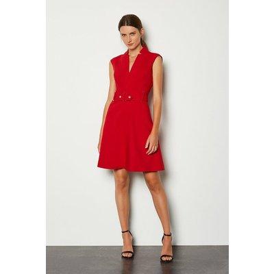 Karen Millen Forever Cinch Waist Cap Sleeve A-Line Dress, Red