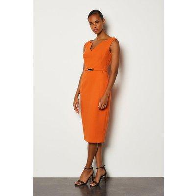 Karen Millen Forever Bar Belt Cap Sleeve Dress, Orange