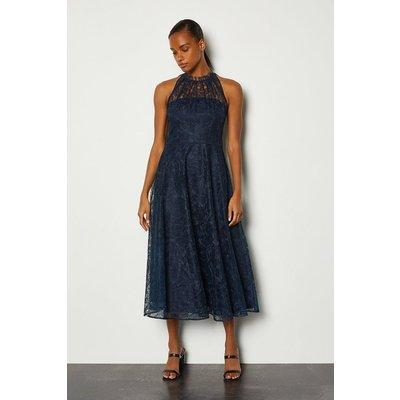 Karen Millen Embroidered High Neck Mesh Dress, Navy