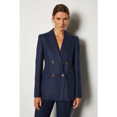Karen Millen Italian Linen Double Breasted Jacket, Navy