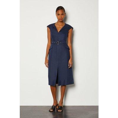 Karen Millen Italian Linen Envelope Neck Dress, Navy