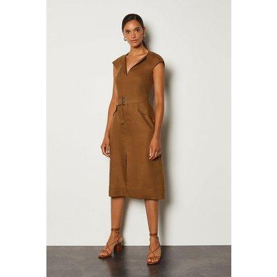 Karen Millen Italian Linen Envelope Neck Dress, Brown