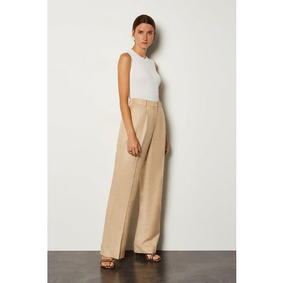 Karen Millen Linen Blend Tuck Detail Trouser, Brown