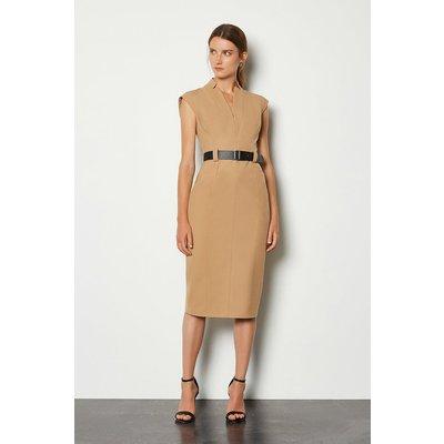 Karen Millen Forever Cap Sleeve Dress, Camel
