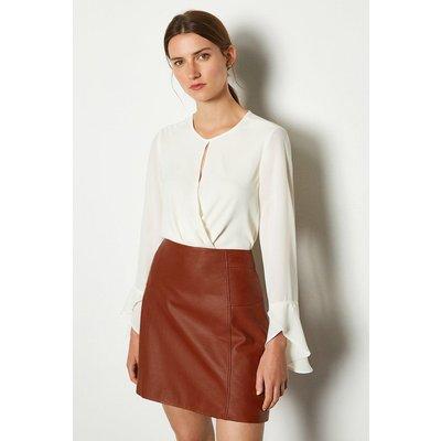 Karen Millen Wrap Front Long Sleeve Blouse, Ivory