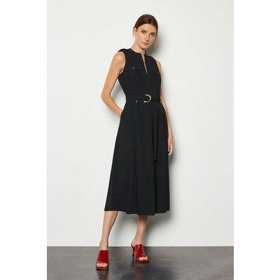 Karen Millen Belted Midi Dress, Black