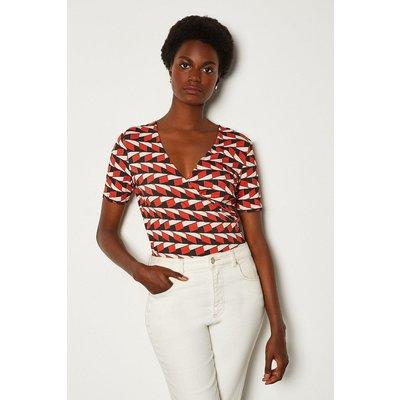 Karen Millen Printed Wrap Jersey Top, Multi