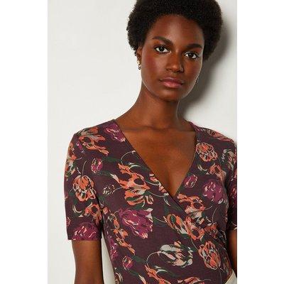 Karen Millen Printed Wrap Jersey Top, Purple