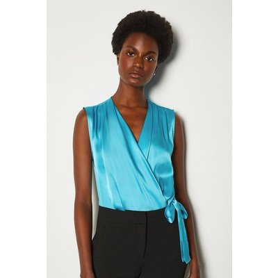 Karen Millen Silk Satin Sleeveless Draped Blouse, Blue
