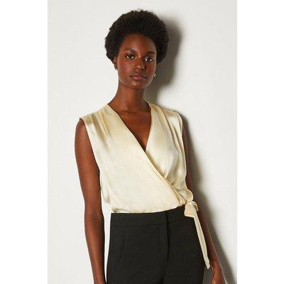 Karen Millen Sleeveless Silk Satin Draped Blouse, Ivory