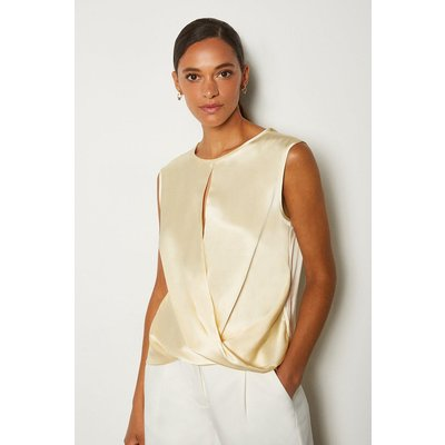 Karen Millen Silk Satin Sleeveless Wrap Blouse, Ivory