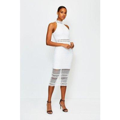 Karen Millen Crochet Bandage Dress, White