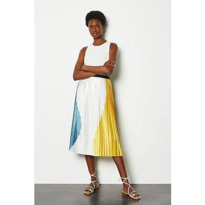 Karen Millen Colour Block Pleat Midi Skirt, Yellow