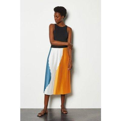 Karen Millen Colour Block Pleat Midi Skirt, Orange