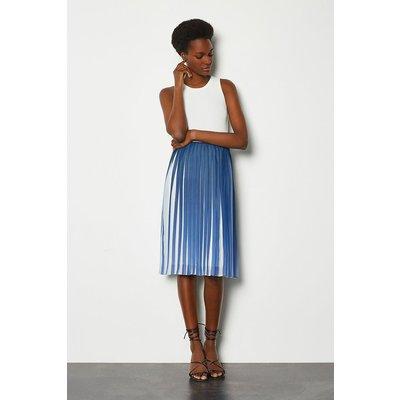 Karen Millen Two Tone Pleat Midi Skirt, Blue