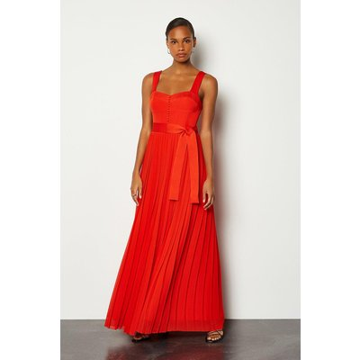 Karen Millen Multi Stitch Corset Top Midi Dress, Red