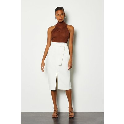 Karen Millen Multi Stitch Midi Pencil Skirt, Ivory