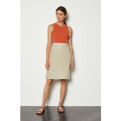 Karen Millen Linen A-Line Midi Skirt, Khaki/Green