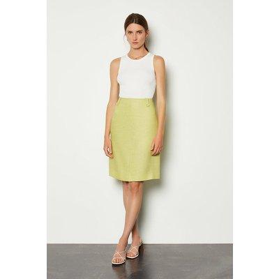 Karen Millen Linen A-Line Midi Skirt, Green