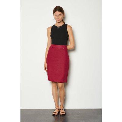 Karen Millen Linen A-Line Midi Skirt, Spice