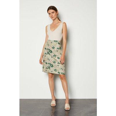 Karen Millen Printed Linen Mix A-Line Midi Skirt, Floral