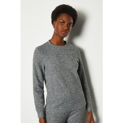 Karen Millen Soft Touch Lounge Crew Long Sleeve Top, Grey