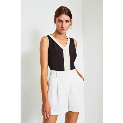 Karen Millen Silk V Neck Sleeveless Blouse -, Black
