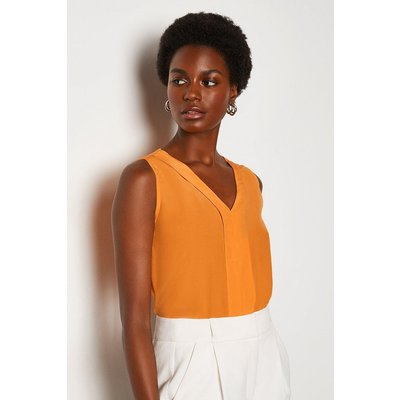 Karen Millen Silk V Neck Sleeveless Blouse, Orange