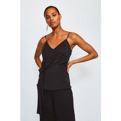 Karen Millen Silk Tie Front Cami, Black