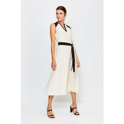 Karen Millen Silk Sleeveless Long Dress, Ivory