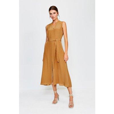 Karen Millen Silk Sleeveless Long Dress, Tan