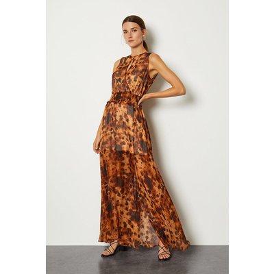 Karen Millen Silk Animal Print Wrap Front Long Dress, Leopard