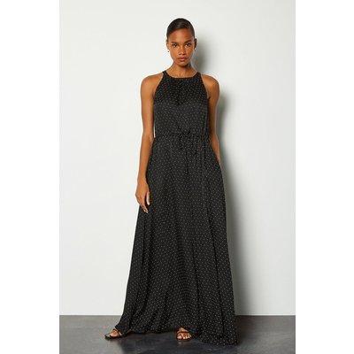 Karen Millen Printed Spot Maxi Dress, Black